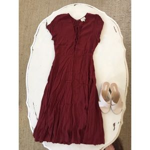 Anthropologie Maroon Maxi Dress